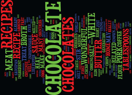 MEAT IN CHOCOLATE RELATED RECIPES Text Background Word Cloud Concept 向量圖像