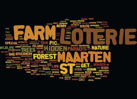 LOTERIE FARM ST MAARTEN Text Background Word Cloud Concept Иллюстрация