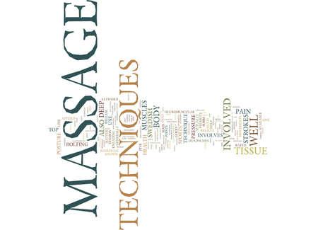 MASSAGE TECHNIQUES Text Background Word Cloud Concept 向量圖像