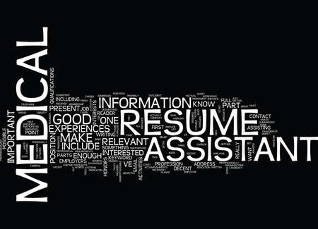 MEDICAL ASSISTANT RESUME Text Background Word Cloud Concept