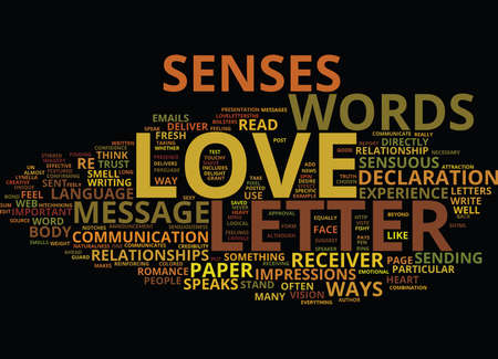 LOVE LETTERS DELIVER BODY LANGUAGE TO REINFORCE WORDS OF LOVE Text Background Word Cloud Concept