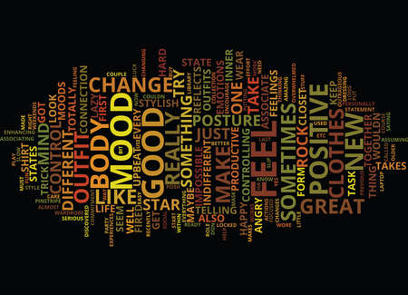 LOOK GOOD FEEL GOOD Text Background Word Cloud Concept