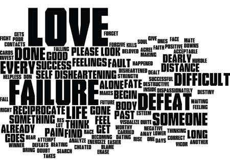 실패 후 활력을 가진 사랑 시작 텍스트 배경 단어 구름 개념 일러스트