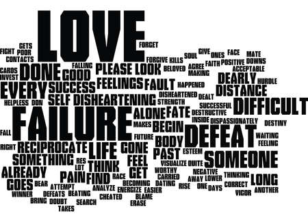 reciprocate: LOVE BEGIN WITH VIGOR AFTER FAILURE Text Background Word Cloud Concept