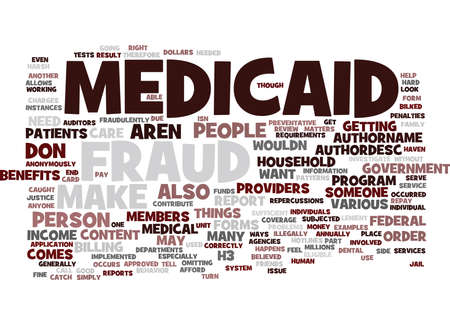 MEDICAID FRAUD Text Background Word Cloud Concept