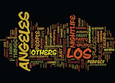 LOS ANGELES NIGHTLIFE Text Background Word Cloud Concept Illusztráció