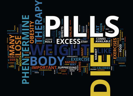 LOSE WEIGHT RAPIDLY WITH DIET PILLS THERAPY Text Background Word Cloud Concept