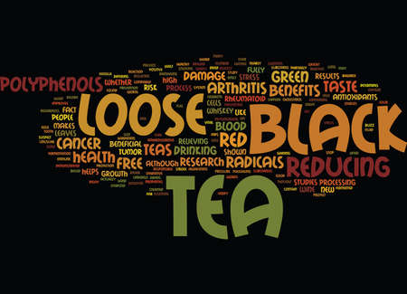 LOOSE BLACK TEA BENEFITS Text Background Word Cloud Concept