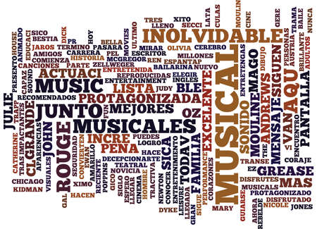 LOS MEJORES MUSICALES Text Background Word Cloud Concept