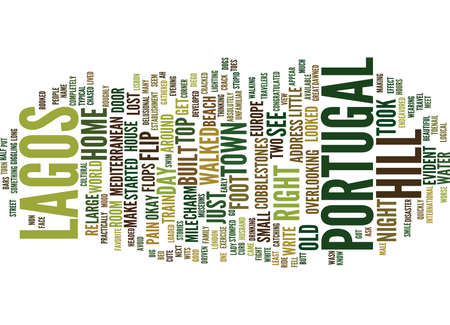 figuring: LOST IN LAGOS PORTUGAL Text Background Word Cloud Concept