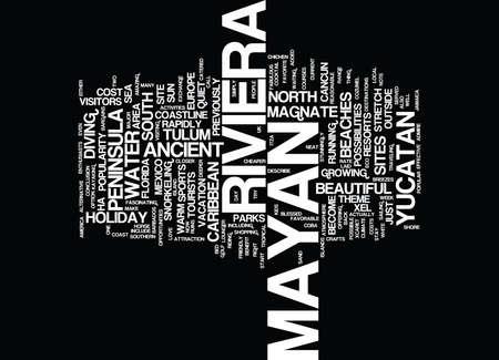 MAYAN RIVIERA MEXICO WAAROM IS HET zo populair Tekst Achtergrond Word Cloud Concept