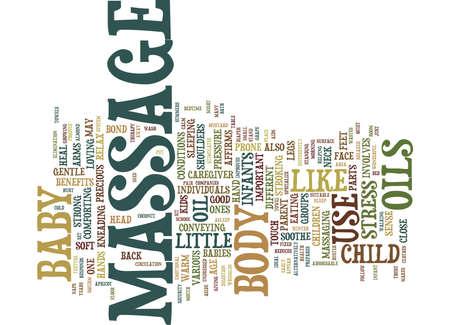 enhances: MASSAGE FOR INFANTS AND CHILDREN Text Background Word Cloud Concept Illustration