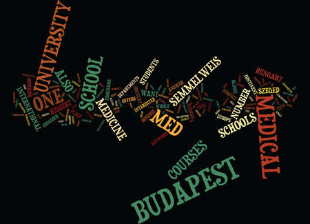 MED SCHOOL IN BUDAPEST Text Background Word Cloud Concept