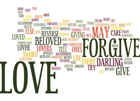 愛の許しは真の愛のテキスト背景単語雲概念です。