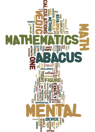 MENTAL MATH METHODS FROM ASIA Text Background Word Cloud Concept