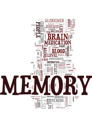 MEMORY AND YOUR HEALTH Text Background Word Cloud Concept Illustration