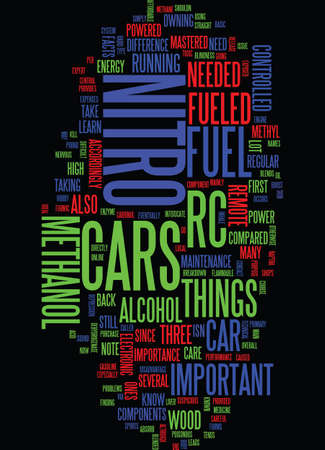 intoxicate: METHANOL ON NITRO FUELED RC CARS Text Background Word Cloud Concept Illustration