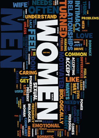 MEN WOMEN AND SEX Text Background Word Cloud Concept