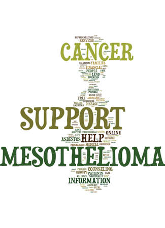 MESOTHELIOMA SUPPORT YOU ARE NOT ALONE Text Background Word Cloud Concept 向量圖像