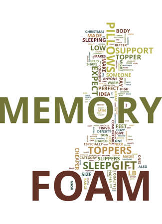 MEMORY FOAM THE PERFECT CHRISTMAS GIFT IDEA FOR YOUR SWEETHEART Text Background Word Cloud Concept