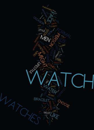 MENS WATCHES Text Background Word Cloud Concept Ilustração