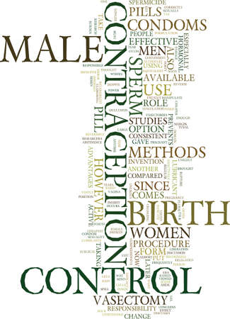 deferens: METHODS OF MALE BIRTH CONTROL Text Background Word Cloud Concept