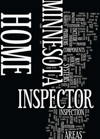 MINNESOTA HOME INSPECTOR Text Background Word Cloud Concept Ilustração