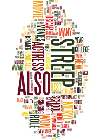 MERYL STREEP Text Background Word Cloud Concept Ilustrace