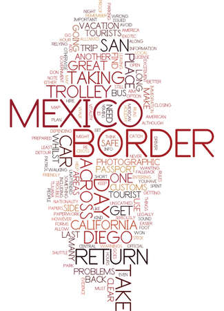 MEXICAN DAY TRIP WHILST IN SAN DIEGO Text Background Word Cloud Concept Illustration