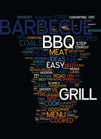MENU IDEAS FOR THE BARBECUE GRILL Text Background Word Cloud Concept 向量圖像