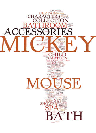 MICKEY MOUSE BATH ACCESSORIES Text Background Word Cloud Concept