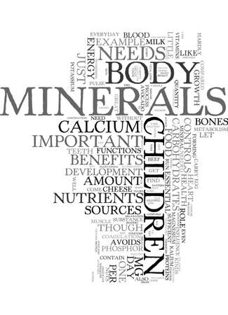 contraction: MINERALS FOR YOUR CHILDREN MINOR YET IMPORTANT Text Background Word Cloud Concept