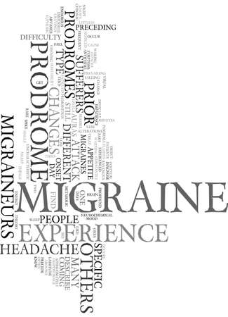 occur: MIGRAINE PRODROMES Text Background Word Cloud Concept