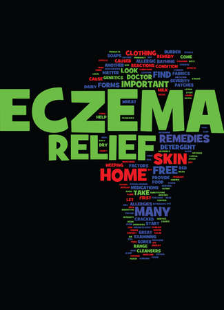METHODS THAT AID IN ECZEMA RELIEF Text Background Word Cloud Concept Illustration