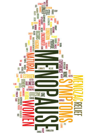 MENOPAUSE SYMPTOMS RELIEF Text Background Word Cloud Concept Çizim