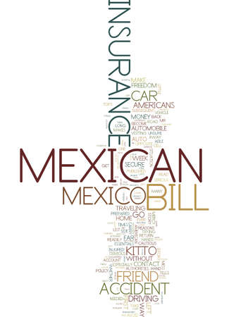 MEXICAN CAR INSURANCE DON T LEAVE HOME WITHOUT IT Text Background Word Cloud Concept