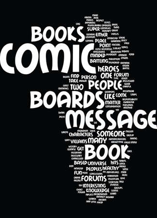 amazed: MESSAGE BOARDS FOR COMIC BOOKS Text Background Word Cloud Concept Illustration