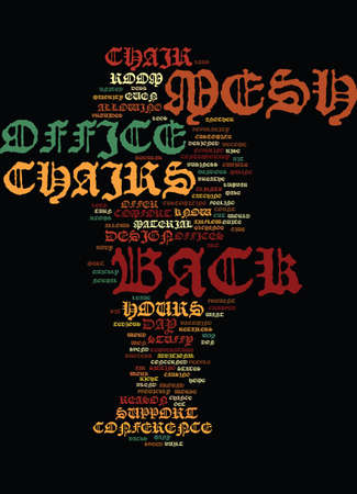MESH BACK OFFICE CHAIRS Text Background Word Cloud Concept 일러스트
