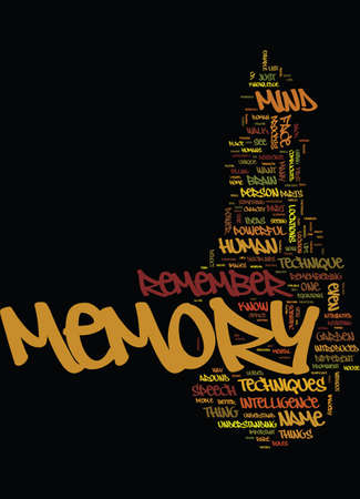 MEMORY TECHNIQUES TIPS Text Background Word Cloud Concept Banco de Imagens - 82624703