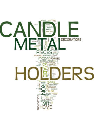 METAL CANDLE HOLDERS FOR THE ANTIQUE COLLECTOR Text Background Word Cloud Concept