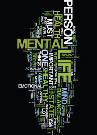 MENTAL HEALTH DEFINED AND IMPARTED Text Background Word Cloud Concept Illustration