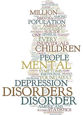 prevalent: MENTAL HEALTH STATISTICS Text Background Word Cloud Concept