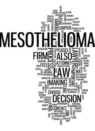 mesothelioma: MESOTHELIOMA LAWYERS HOW TO CHOOSE THEM CORRECTLY Text Background Word Cloud Concept Illustration