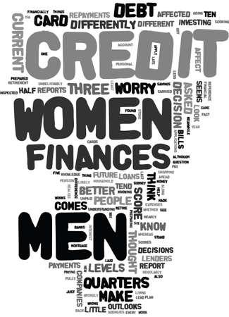 MEN WOMEN AND THEIR FINANCES Text Background Word Cloud Concept Иллюстрация