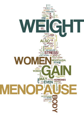 MENOPAUSE AND WEIGHT GAIN Text Background Word Cloud Concept