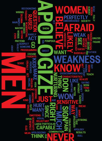 MEN THAT NEVER APOLOGIZE IS IT THOUGHT OF AS A WEAKNESS Text Background Word Cloud Concept Illustration