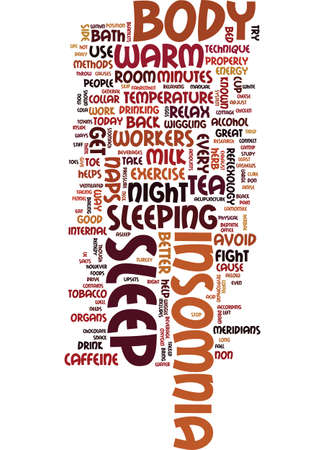 METHODS YOU CAN USE TODAY TO FIGHT INSOMNIA Text Background Word Cloud Concept Illustration