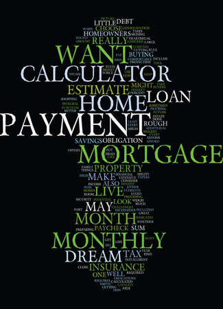 MONTHLY MORTGAGE PAYMENT CALCULATOR Text Background Word Cloud Concept Ilustrace