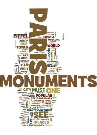 MONUMENTS OF PARIS Text Background Word Cloud Concept