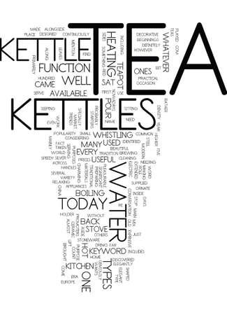 TEA KETTLES Text Background Word Cloud Concept Vettoriali